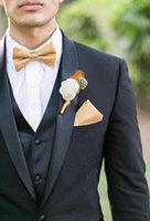 Wholesale Cheap Formals Men - New Handsome White Men Wedding Suits Slim Fit Bridegroom Tuxedos Cheap Groomsmen Suit Formal Business Jackets With Bow Tie For 5 Suits