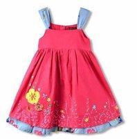 vestidos de flores de algodón puro de las niñas al por mayor-Niños Niñas Correas de los hombros Vestido flores bordadas Vestidos Princesa de algodón puro Vestidos al por mayor