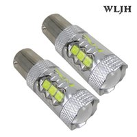 Wholesale 12v P21w Bulb - WLJH 1200lm 12V 24V LED 1156 P21W BA15S S25 Projector Lens Car DRL Parking Lamp Tail Reverse Backup Light License Bulb