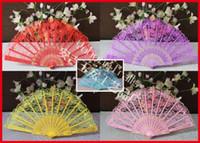 Wholesale Chinese Folk Dance Costumes - 100pcs lot Dancing Folding Hand Lace Fan Bronzing Pattern Plastic Fan Chinese Folk Arts Costume Party Wedding Fan