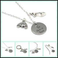 Wholesale Pumpkin Necklaces - 12pcs lot The Cinderella quote So this is love necklace bracelet keyring bookmark slipper and pumpkin carriage charm necklace