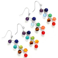 Wholesale Sexy Tiger - New Design Sexy 7chakra Beads Earrings Yoga Jewelry Fashion Long Tassel Women Dangle Earrings 6mm Amethyst Tiger Stone Agate Natural Stone