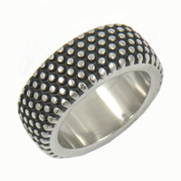Wholesale CUSTOM MADE STAINLESS STEEL mens or womens PUNK VINTAGE JEWELRY DOT MOTOR CYCLE TIRE BIKER RING GIFT W95