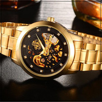 Wholesale Vogue Brand Glasses - Wrist watches Brand golden Steel Luxury men's watch VOGUE AUTOMATIC Watch Gold Skeleton Mechanical watch Drop Shipping
