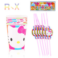 Wholesale theme kitty - Wholesale- 12PCS Hello Kitty Theme Plastic Straw and cups Party Decoration Baby Happy Birthday evening Party Supplies Wedding for kids