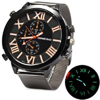 Shiweibao A3168 Montre Homme Quartz Japon Movt Big Dial Luminous Scales Steel Net Band