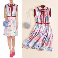 Casual Dresses Vintage Dresses Summer free shipping luxury 2017 summer women's one piece dress floral print bow sleeveless tank dress brand designer runway dress pink XL