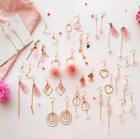 Wholesale wing shaped earrings - New 18 styles geometric shape girls tassel pink Heart Bowknot Wings lovely earrings women asymmetry eardrop fishhook earrings