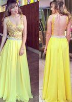 vestido de noche de encaje de gasa amarilla al por mayor-Sexy Yellow Prom Dresses Spaghetti Illusion back Vintage Lace Top A Line Chiffon Skirt Formal Vestido De Fiesta Evening Gowns