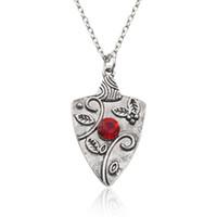 Wholesale Garnet Statement Necklace - The Vampire Diaries Garnet Pendant Necklace Bonnie Bennet Family Amulet Pendants Necklaces Carved Follows Red Stone Statement Necklace