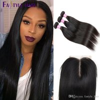 Brazilian Straight 3 Extension Bundles avec Swiss Lace Closure UNPROCESSED Peruvian Malaysian Indian Virgin Human Hair Wefts Cheap