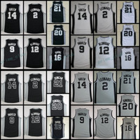 Wholesale Shirts Basketball - New Kawhi Leonard Basketball Jerseys 12 LaMarcus Aldridge 20 Manu Ginobili 9 Tony Parker 14 Danny Green 16 Pau Gasol 21 Tim Duncan Shirts