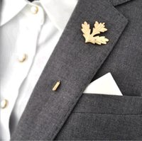 Wholesale Tie Pin Brooch Men - Wholesale- Classic Exquisite Unisex Fashion men leaves brooches Leaf Collar Pin Brooch Golden for brooch pin women tie Jewelry