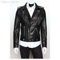 Wholesale 2017 Newest Men s Leather Foreign Trade Biker Jacket Mens Leather Jackets and Coats Locomotive Zipper Male Leather Jacket