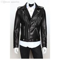 Wholesale Men Biker Jackets - 2017 Newest Men's Leather Foreign Trade Biker Jacket Mens Leather Jackets and Coats Locomotive Zipper Male Leather Jacket