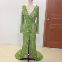 Wholesale Real Beaded Evening Dress - 100% Real Sample Long Sleeve Prom Gown Sexy V Neck Crystal Beaded Sequins Side Slit Formal Dresses Mermaid Long evening Dress