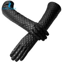 siyah kürk eldivenleri toptan satış-Toptan- moda uzun deri eldiven, hakiki deri, uzunluk 45-46cm, pamuk, yetişkin, gerçek siyah kürk eldiven, spandex, deri eldiven