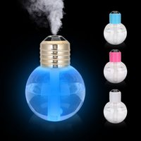 Wholesale Glowing Usb Charger - Anion Glowing Humidifiers USB Ultrasonic Mini Light Bulb Shape Humidifier Colorful Discolored Round Aromatherapy Mist Maker Mute 24gf A R