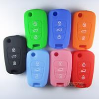 Wholesale Hyundai Remote Car Key Shell - New 3 Buttons SILICONE Car Flip Key Cover Case For HYUNDAI i10 i20 i30 IX35 ELANTRA ACCENT VERNA Fob Remote key FOB shell
