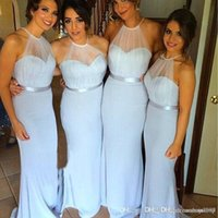 Wholesale image stock photos - Sky Blue Hot Design Long Fitted Sheath Bridemaid Dresses Halter Neck Sleeveless Chiffon Party Gown Maid Of Honor Dress