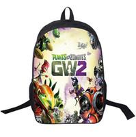 bitkiler vs zombiler sırt çantaları toptan satış-Sevimli Karikatür 3D Bitkiler vs Zombies Sırt Bahçe Harp Çocuk Oğlan Kız Omuz Çantaları Okul Bagpacks Seyahat Sırt Çantaları 16 inç