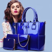 Wholesale korean women casual set - The new PU fashion trend of Korean patent leather bag bright three sets of high-end large capacity portable bag lady crossbody women bag8813