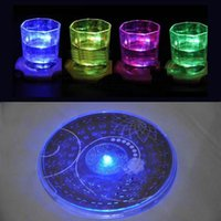 Wholesale club bamboo - Wholesale- Pop LED Flashing Light 3M Sticker Bottle Cup Mat Coaster For Clubs Bars Party PJW