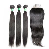 weave bundles closure toptan satış-İnsan Saç Ürünü Düz Dantel Kapatma Ile 3 Demetleri Saç Örgüleri Kapatma Saç Uzantıları Toplam 4 adet lot Doğal Renk Ücretsiz Kargo