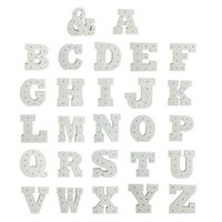 Wholesale Wholesale Alphabet Wall Letters - Wholesale- Hot White wooden letter LED Marquee Sign Alphabet LIGHT UP night light Indoor WALL Decoration Wedding Party Window Display Light