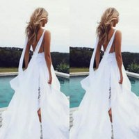 Wholesale Wedding Skirts Flowing - Sexy Beach Wedding Dress Spaghetti Straps Sleeveless Lace Chiffon Flowing Bridal Gowns with High Split See Through Skirt Sweep Train