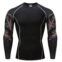 Wholesale Long Body T Shirts Men - Fashion Long Sleeves Men's T-shirts 3D Prints Tight Skin Compression Shirts for Men Male Body Building Top Fitness