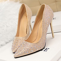 Wholesale golden party shoes - designer luxury brand bigtree shoes crystal shoes rhinestone wedding dress sexy high heels ladies pumps pink black gray nlue golden tacones