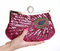 Wholesale Red Beaded Handbag - Vintage Women Clutch Bags Peacock Pattern Sequins Beaded Chain mini handbag Bridal Purse luxury Evening Party Wedding Gifts