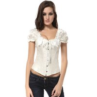 Wholesale White Striped Corset - Steel Boned Corset Bustier Steampunk Corselet Ruched Sleeves Corsage Underbust Waste Trainer Slimming Sheath Bodice Belly Corsets 204