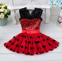 Wholesale Girls Pageant Dresses Polka Dot - Kids Clothing Flower Baby Girls Dresses vintage Princess Minnie Bow Polka dot Printed Ball Gown Cute Toddler Pageant Dress TuTu Party Gowns