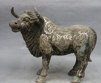Wholesale Chinese Silver Statue - 14 Chinese Dynasty Pure Bronze Silver-Gilt Bull Cattle Ox Cow Statue Sculpture