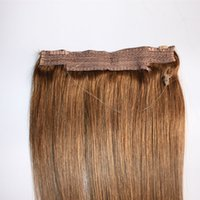 Wholesale clip in human hair extensions online - Hot Sale Brazilian Human Hair No Clips Halo Flip in Hair Extensions pc G G Easy Fish Line Hair Weaving Price