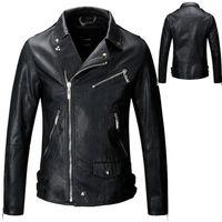 Wholesale Jacket Cuir Men Black - Mens PU Leather Jacket Fashion Brand Design Casual Slim Biker Motorcycle Veste De Cuir Pour Homme