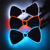 Wholesale Neon Bow Tie - 10 Colors Hiphop Club NEW Fashion Glowing Flashing Flexible EL Wire BOW TIE LED neon BOW TIE for party Decoration,bar,club XLL29