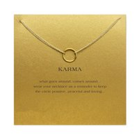 Wholesale Karma Circle - karma Double chain Circle necklace plated gold Pendant necklaces Fashion Clavicle Chains Statement Necklace Women Jewelry