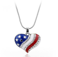 Wholesale july party - American Flag Enamel Blue and Red Crystal Rhinestone pentagram Patriotic 4th of July Independence Day Pendant Necklace TOP1868
