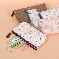 Wholesale Pencil Box Small Wholesale - Wholesale- 1 Pcs Hot Sale New Flower Floral Pencil Case Canvas Storage Pouch Pen Bag Small Fresh Canvas Zipper Pencil Box