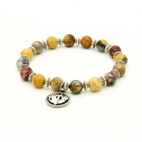 Vente en gros Hommes 10ps / lot 8mm Crazy Agate Stone Beads avec Silver Anchor Charm Lucky Bracelets Party Gift