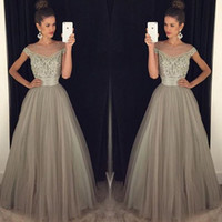 pageant dresses for women white 2018 - Gray Evening Dresses For Women Illusion Scoop Neck Tulle Cap Sleeve Crystal Beaded Floor Length Formal Pageant Party Dresses 2017 Prom Dress