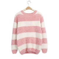 Wholesale Yellow Striped Sweater Women - Wholesale-2016 Fashion Striped Long-sleeved Knit Sweater Winter Clothing Women Sweater And Pullover Casual O-Neck Sweater