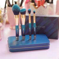 Wholesale Travel Size Makeup Brushes - PONY EFFECT The Blue Limited MINI MAGNETIC BRUSH SET KIT - 4pcs metal box - Korean Cosmetics Travel Size Kit - Beauty Makeup Brushes Blender