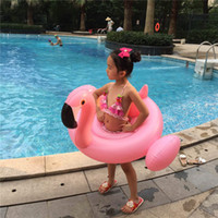 baby inflatable flamingo оптовых-Summer Children's Inflatable Floating Swim Pool Beach Toys Kids Life Buoy Water Sports Baby Swimming Laps Inflatable Floats Flamingos Swan