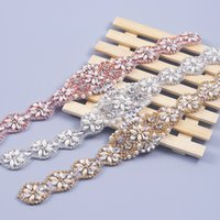 Wholesale Sew Applique Beads - 1PIECE Handmade Rhinestones Appliques For Wedding Sashes Rose Gold Silver Clear Crystal Beads Sewing On Bridal Wedding Accessory