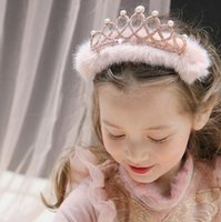 Wholesale pearl head dress - 2017 Korean New Arrivals Fur Shinning Crown Pearl Head Hoop Pink White Lovely Girls Dress Hair Accessories Head Ornaments B4421