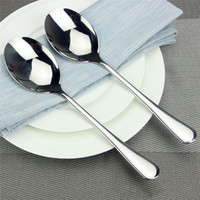 Wholesale Restaurant Stainless - Stainless Steel Serving Spoon Flatware Mirror Polished Dinner Soup Spoon for Home Buffet Banquet restaurant party Free Shipping